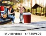 summer car trip and fresh hot... | Shutterstock . vector #647509603