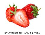 ripe strawberries isolated on... | Shutterstock . vector #647517463