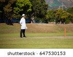 full length of umpire standing...   Shutterstock . vector #647530153