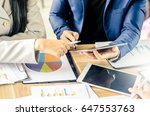 close up of business team using ... | Shutterstock . vector #647553763