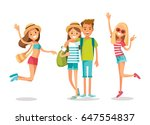young people on summer vacation | Shutterstock .eps vector #647554837