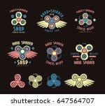 set of hand spinner emblems and ... | Shutterstock .eps vector #647564707