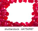 frame of red rose petals isolated - stock photo