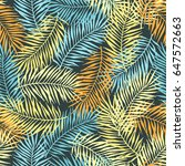 tropical pattern with palm... | Shutterstock .eps vector #647572663