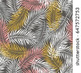 tropical pattern with palm... | Shutterstock .eps vector #647572753