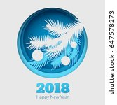 christmas illustration with fir ... | Shutterstock .eps vector #647578273