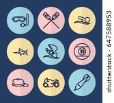 set of 9 sport outline icons... | Shutterstock .eps vector #647588953