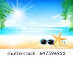 starfish flower palm leaf sand... | Shutterstock .eps vector #647596933