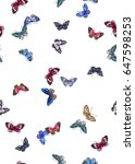 Stock photo seamless romantic little colorful vibrant flying butterflies pattern playful hand drawn multi 647598253