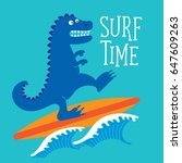 surf sport and dinosaur... | Shutterstock .eps vector #647609263