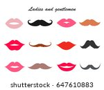 ladies and gentleman lips and... | Shutterstock .eps vector #647610883