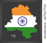 delhi map with indian national...   Shutterstock .eps vector #647617723
