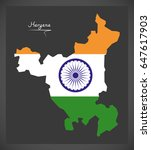 haryana map with indian...   Shutterstock .eps vector #647617903