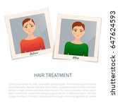 woman before and after hair... | Shutterstock .eps vector #647624593
