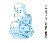 silhouette nice father carrying ... | Shutterstock .eps vector #647632177