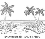 sea coast graphic black and... | Shutterstock .eps vector #647647897