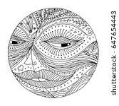 full moon hand drawing vector... | Shutterstock .eps vector #647654443