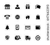 e shop icons    black series  ... | Shutterstock .eps vector #647662393