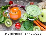 detox juice and smoothie | Shutterstock . vector #647667283