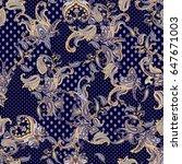 luxury paisley multicolor design | Shutterstock . vector #647671003