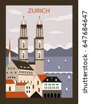 zurich city in switzerland...   Shutterstock .eps vector #647684647