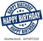 happy birthday blue round... | Shutterstock .eps vector #647697223