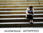 working woman  siting on the... | Shutterstock . vector #647699353