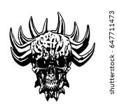 skull of a demon with crown of... | Shutterstock .eps vector #647711473
