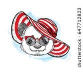 funny panda in a beautiful... | Shutterstock .eps vector #647712823