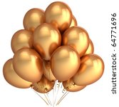Gold party balloons golden Happy birthday decoration luxury yellow. New Year anniversary graduation christmas retirement holiday glamour decoration. Detailed 3d render. Isolated on white background - stock photo