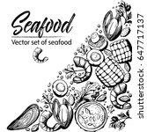 vector set of seafood design... | Shutterstock .eps vector #647717137