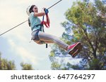 happy school girl enjoying... | Shutterstock . vector #647764297