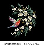 embroidery colorful floral... | Shutterstock .eps vector #647778763