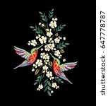 embroidery colorful floral...   Shutterstock .eps vector #647778787
