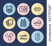 set of 9 pattern outline icons...