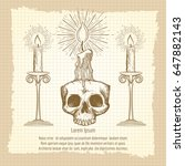 skull and candles on vintage...   Shutterstock .eps vector #647882143
