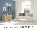white room with sofa and green... | Shutterstock . vector #647913013