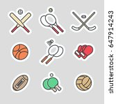 colorful sport games stickers... | Shutterstock .eps vector #647914243