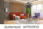 interior living room. 3d... | Shutterstock . vector #647922913