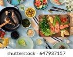 family dinner table with shrimp ... | Shutterstock . vector #647937157