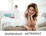 stressed couple arguing and... | Shutterstock . vector #647949547