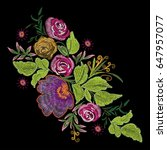 colorful embroidery on a black... | Shutterstock .eps vector #647957077