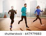 friends fitness training... | Shutterstock . vector #647979883
