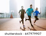 Stock photo friends fitness training together outdoors living active healthy 647979907