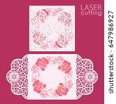 laser cut wedding invitation... | Shutterstock .eps vector #647986927
