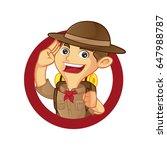boy scout cartoon saluting... | Shutterstock .eps vector #647988787