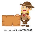 boy scout cartoon holding blank ... | Shutterstock .eps vector #647988847