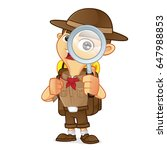 boy scout cartoon holding... | Shutterstock .eps vector #647988853