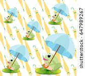 cute frogs with umbrellas...   Shutterstock .eps vector #647989267