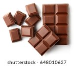 Milk Chocolate Pieces Isolated...